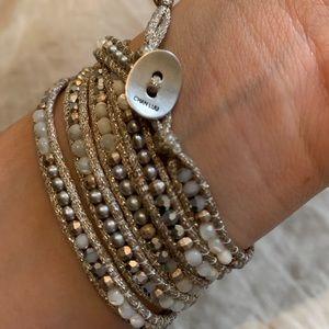 Chan Luu Mixed Stone Grey Silver 5 Wrap Bracelet